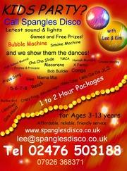 Childrens party? Don't panic call Spangles Kids Disco for Coventry, Warwickshire, West Midlands.