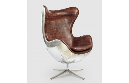 Egg chair replica with brown faux leather and aluminium for Egg chair replica leder